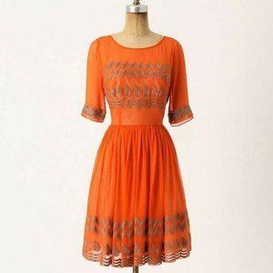 Tracy Reese Tangerine Flicker Silk Chiffon Dress